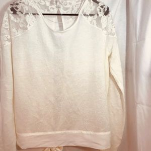 Lauren Conrad Runway Pearl and Lace Sweater